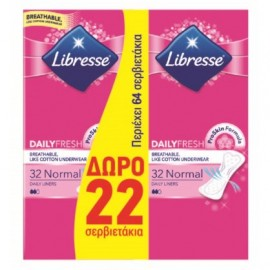 Libresse Σερβιετάκια Daily Fresh Normal 64 Tεμ