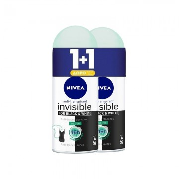 Nivea Αποσμητικό Roll On Black & White Invisible Active Women 50ml 1+1 Δώρο