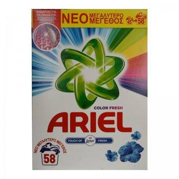 Ariel Σκόνη Πλυντηρίου Ρούχων Color Touch of Lenor 58ΜΕΖ 3.770KG