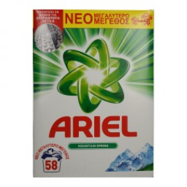 Ariel Σκόνη Πλυντηρίου Ρούχων Mountain Spring 58ΜΕΖ 3.770KG
