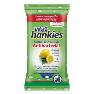 WET Hankies Αντιβακτηριδιακά Υγρά Μαντηλάκια Lemon Fresh 15 Τεμ.
