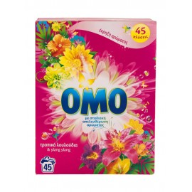 OMO Σκόνη Πλυντηρίου Ρούχων Τροπικά Λουλούδια 45 Μεζ.