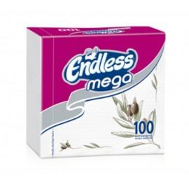 Endless Mega Χαρτοπετσέτα Λευκή Ελιά 33x33εκ 100ΤΕΜ