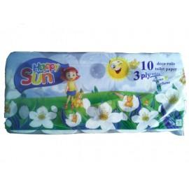 Happy Sun Χαρτί Υγείας Τρίφυλλο 10 Ρολλά X 95GR
