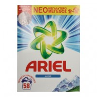 Ariel Σκόνη Πλυντηρίου Ρούχων Alpine 58ΜΕΖ 3.770KG