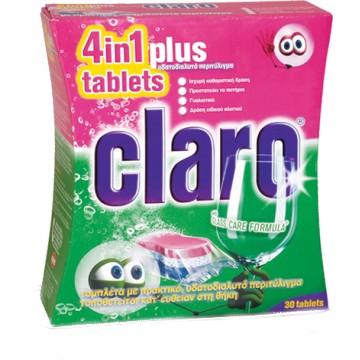 ΕΥΡΗΚΑ Claro Plus 4in1 Ταμπλέτες Πλυντηρίου Πιάτων 30 ΤΕΜ