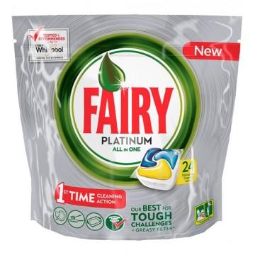 Fairy Platinum Υγρές Κάψουλες Πλυντηρίου Πιάτων Λεμόνι 24ΤΕΜ