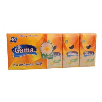 Gama Χαρτομάντηλα Τσέπης 3φυλλα Συσκευασία 10 Πακέτα