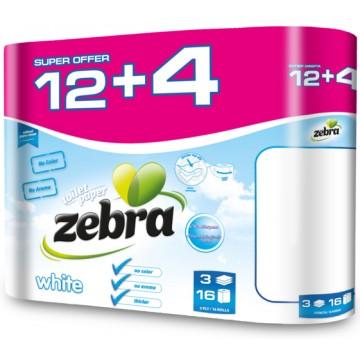 Zebra White Χαρτί Υγείας 12ρολλά + 4 Δώρο 3φύλλα Χ 18 Μέτρα