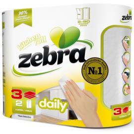 Zebra Daily Χαρτί Κουζίνας 3φυλλο 2 Χ 10.4 Μέτρα